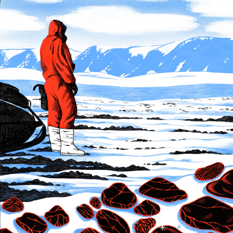 Illustration of a scientist in a big parka looking out onto the Antarctic landscape with meteorites in the foreground.