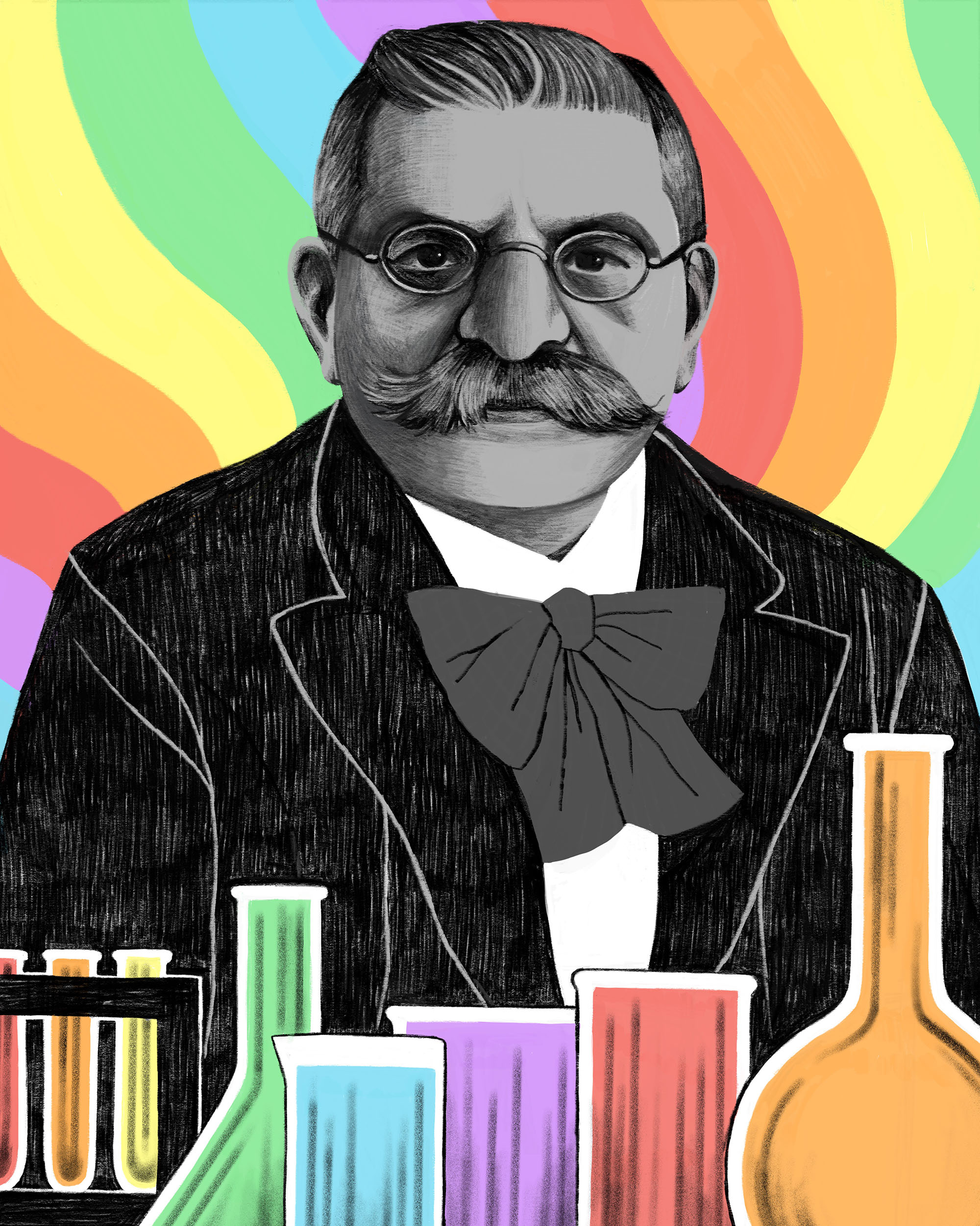 Illustration of a mustached Magnus Hirschfeld with colorful testubes against a wavy rainbow background.