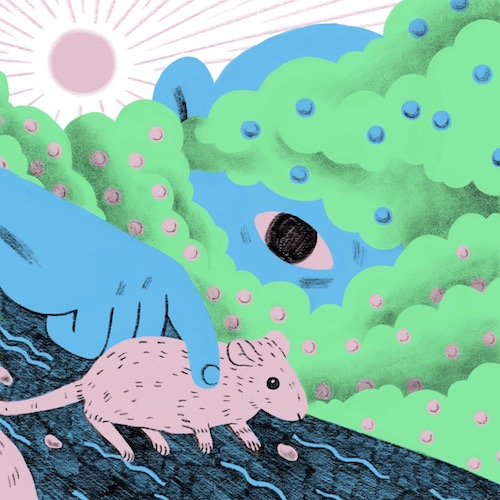 Illustration of a large blue man behind a green cloud picking up a pink mouse.