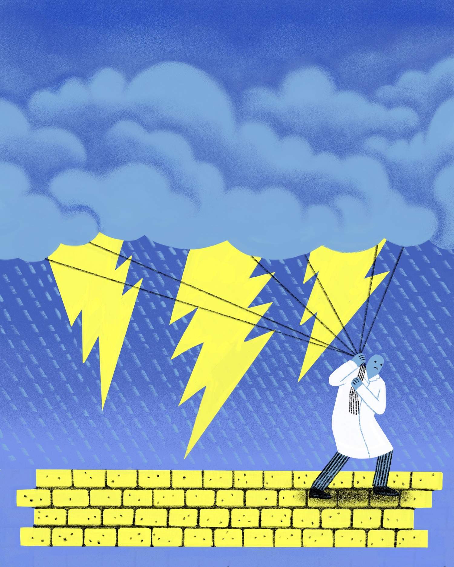 Illustration of a scientist in a lab coat pulling clouds with lightning coming out of them with pieces of rope.