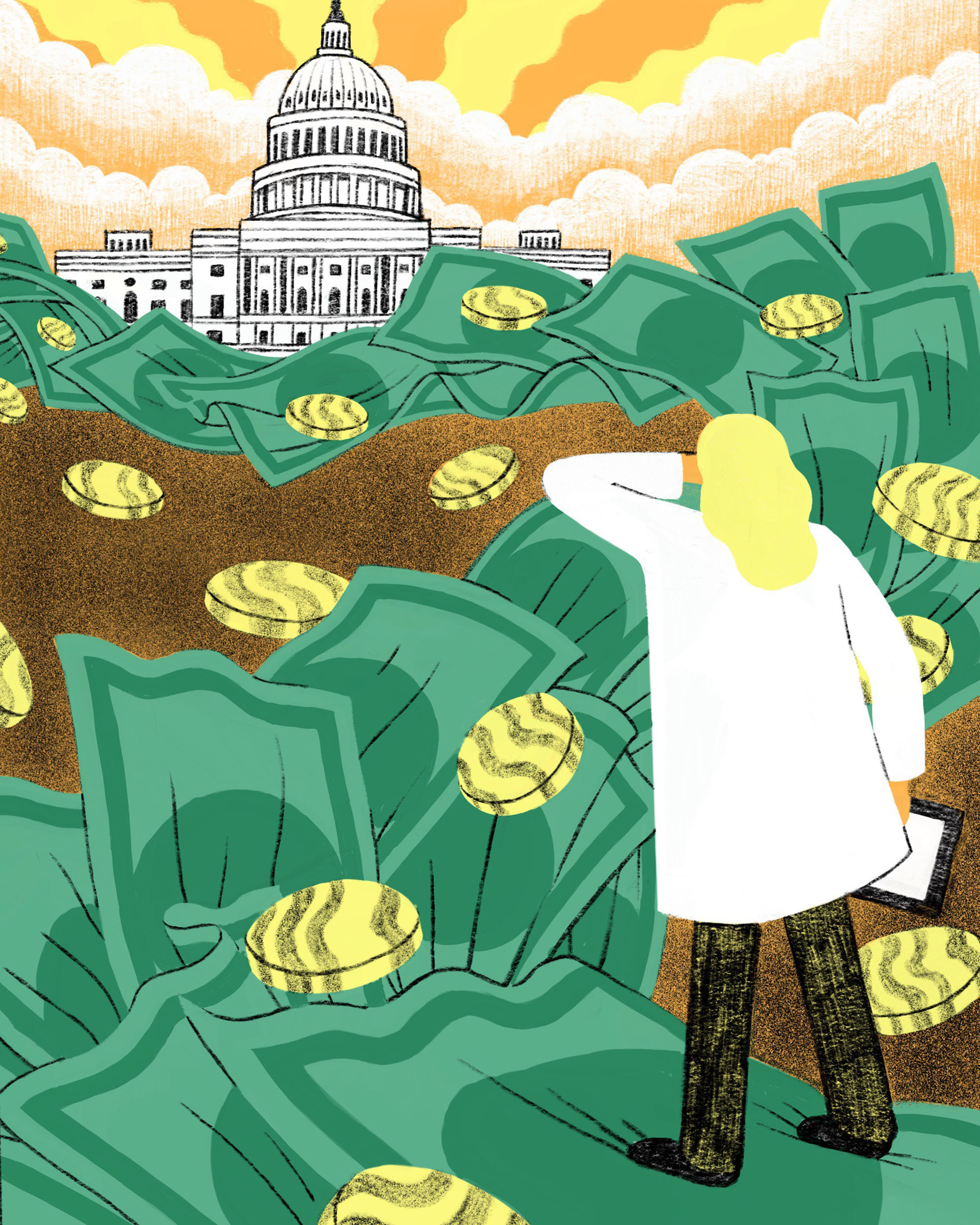 Illustration of woman in labcoat surrounded by giant paper bills and coins looking off to the U.S. Capitol building in the background.